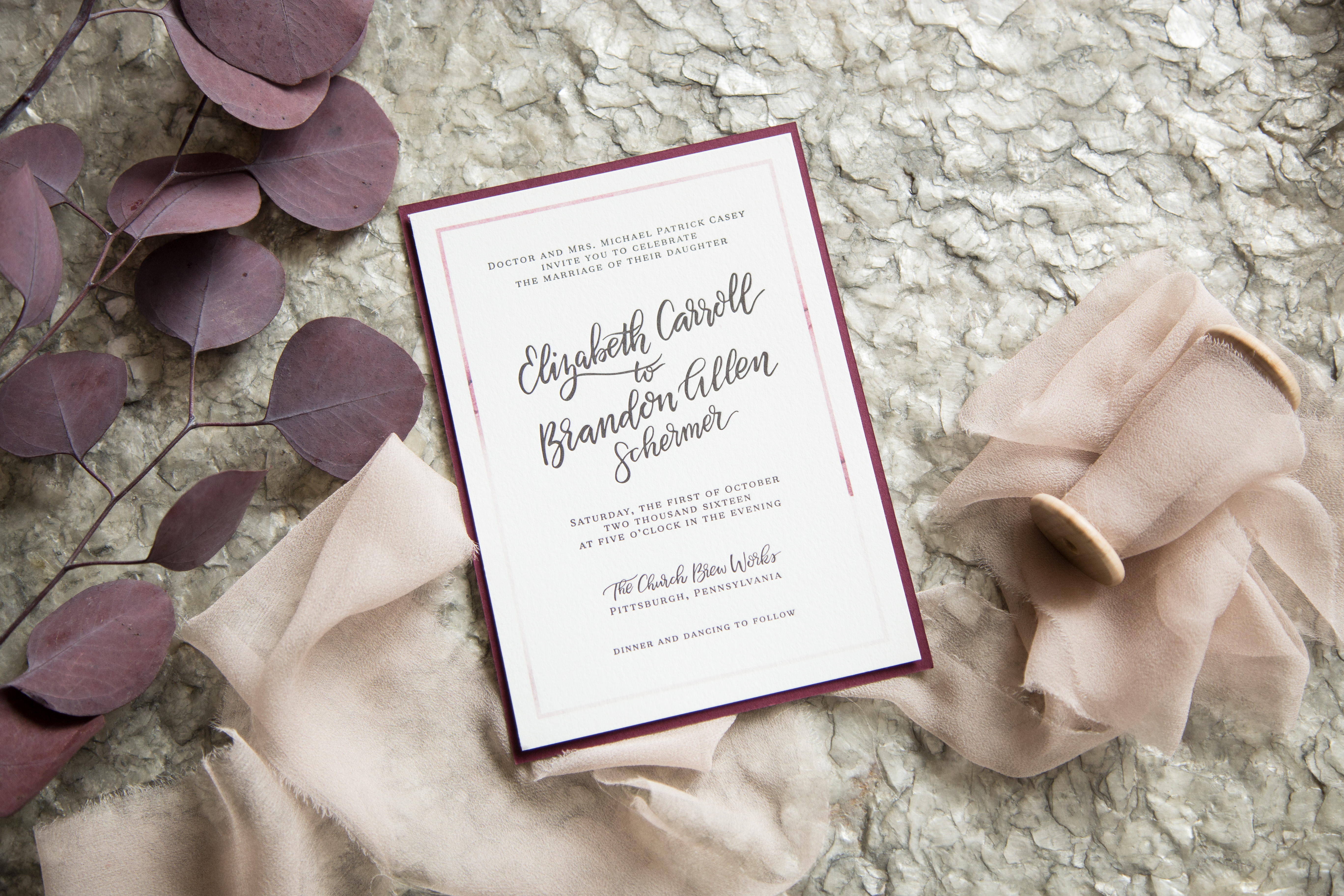 Wine Fall Wedding Invitation Suite Letterpress