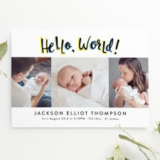 Hello, World Baby Boy Birth Announcement