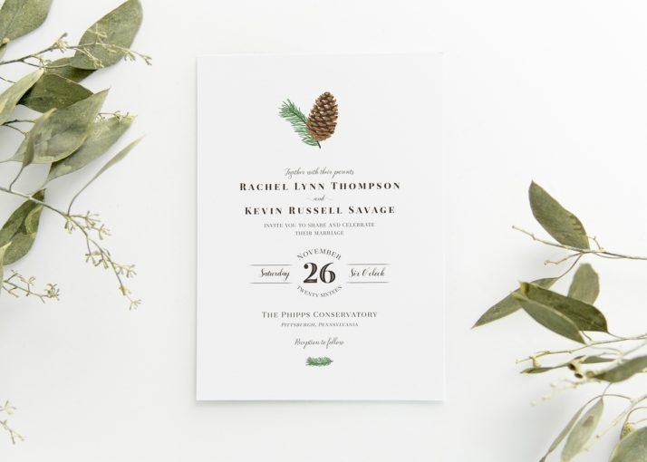 Woodland Pine Cone Invitation