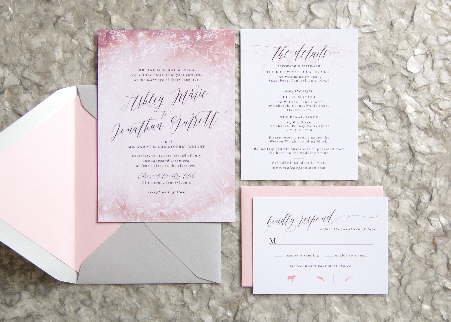 Watercolor Hand Drawn Floral Frame Wedding Invitation Package