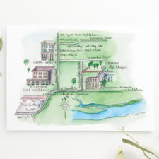 Custom Ink and Watercolor Wedding Map