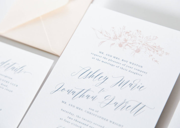 Dusty Blue Wedding Invitation Package