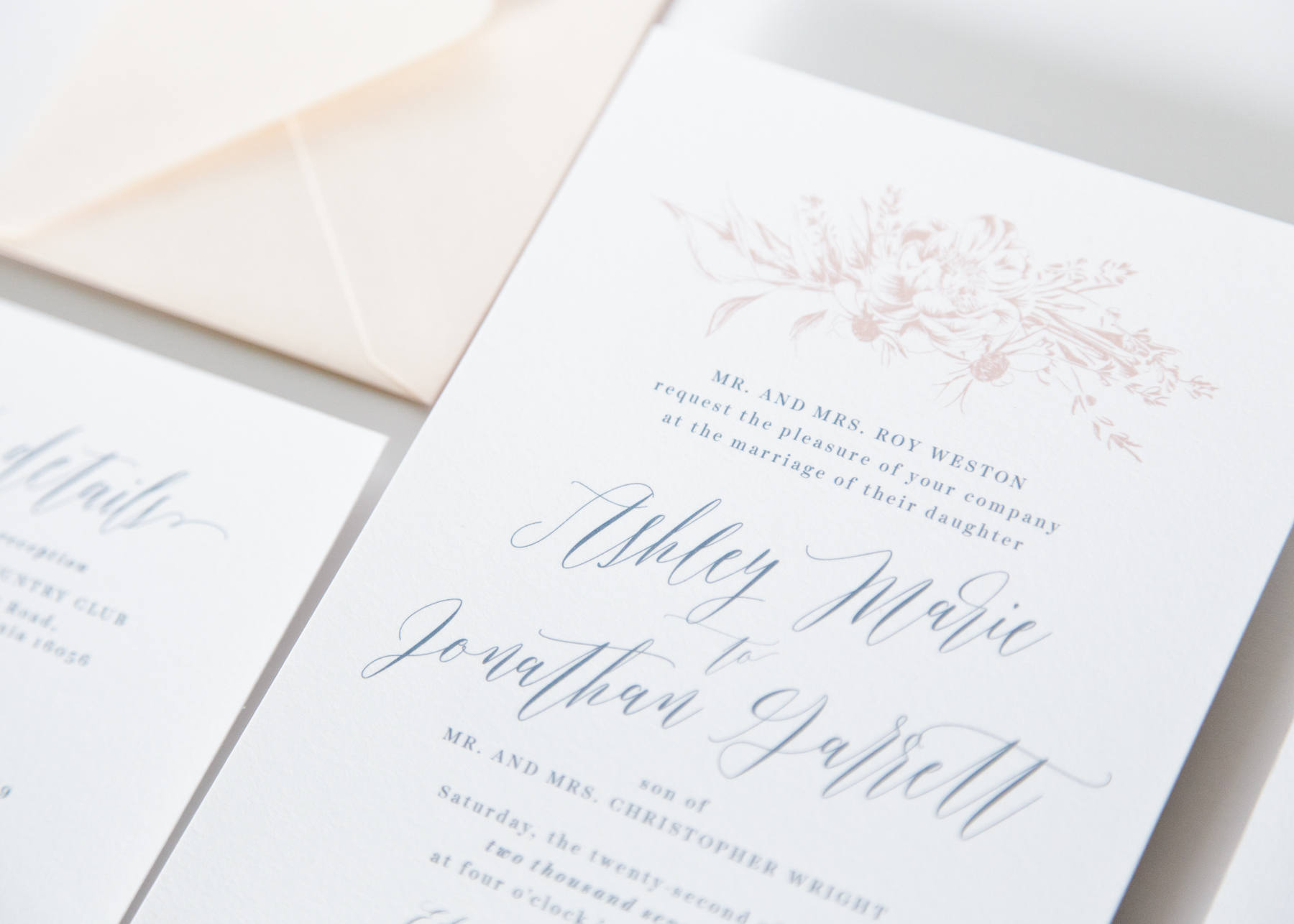 Dusty Blue Wedding Invitation Package – Fresh Cut Prints