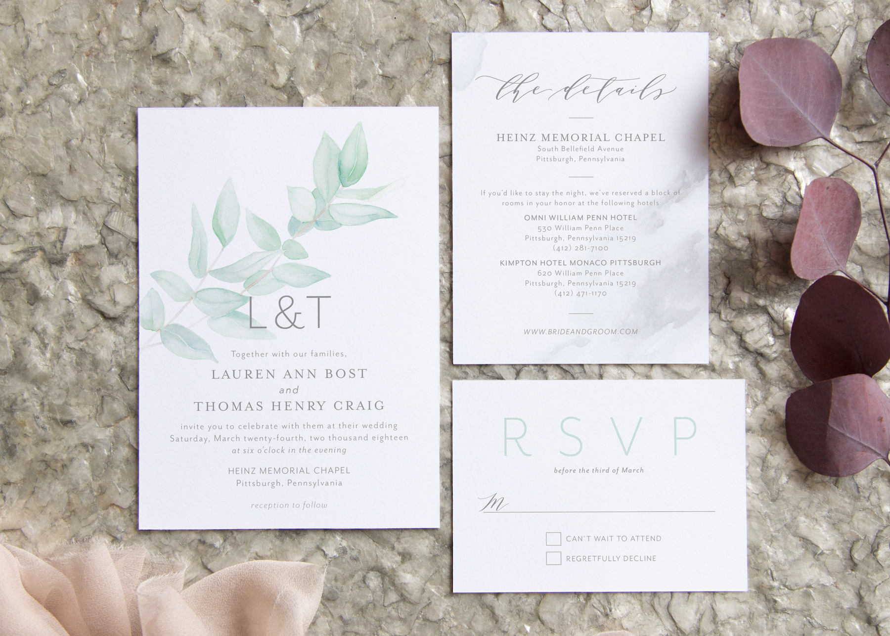 Eucalyptus Wedding Invitation – Fresh Cut Prints