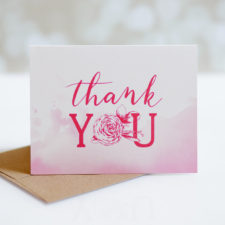 Pink Hand Lettered Thank You Card Set